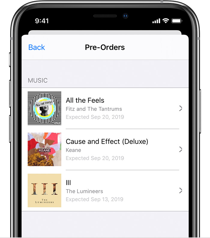 The Pre-Orders screen on an iPhone, featuring music by The Lumineers and other artists.