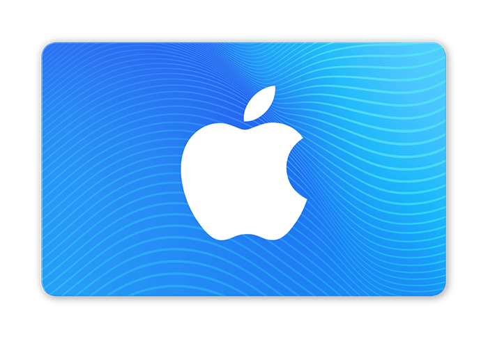 Blue gift card with the Apple logo.