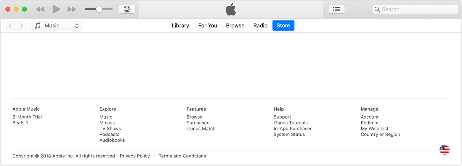 An iTunes window showing the bottom of the Store tab. iTunes Match is selected under the Features menu.