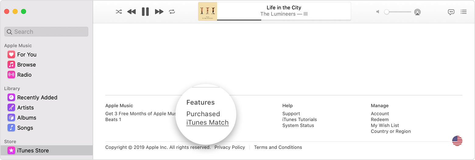 The Apple Music app shows that iTunes Match is located at the bottom of the iTunes Store.
