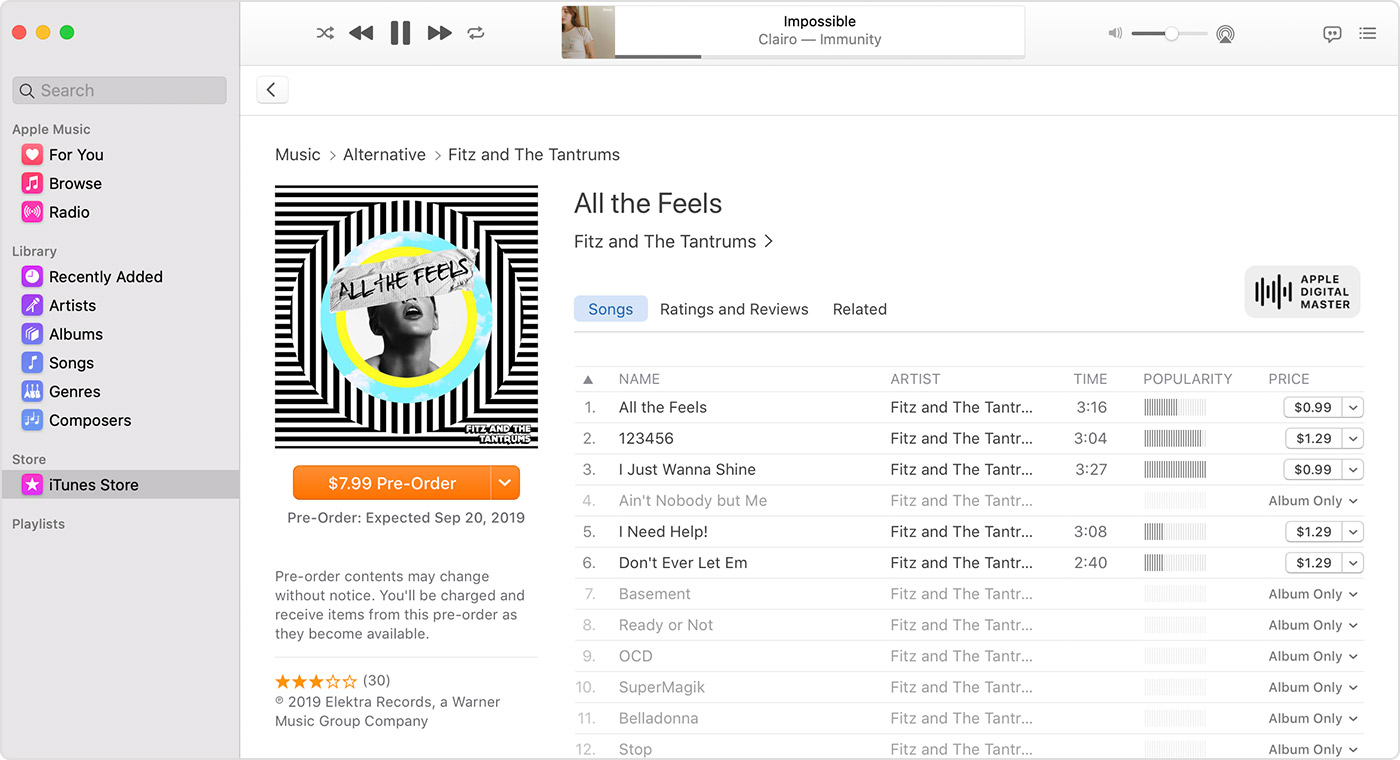 Screenshot of the iTunes Store on Mac with an album that you can pre-order by Fitz and the Tantrums.