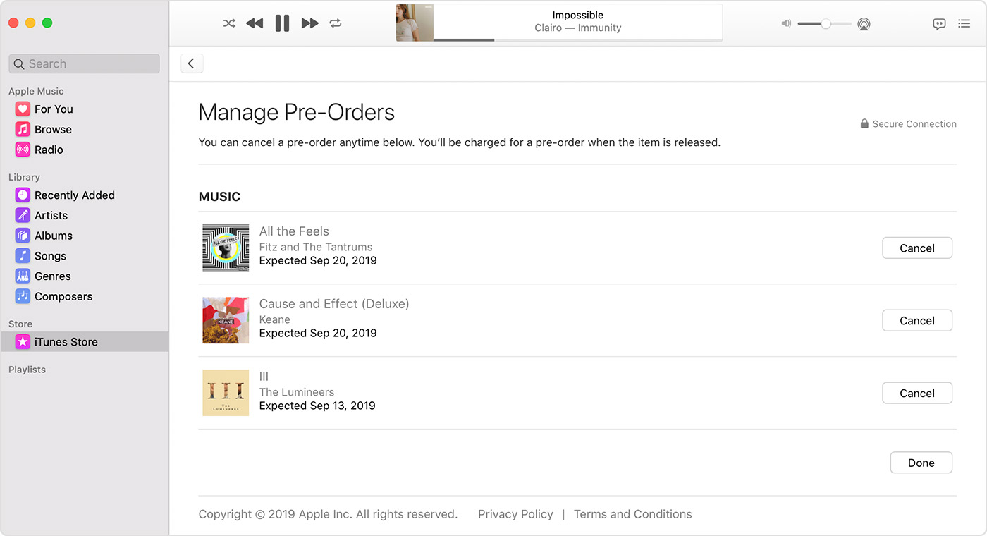 The Manage Pre-Orders page in the Music app on a Mac.