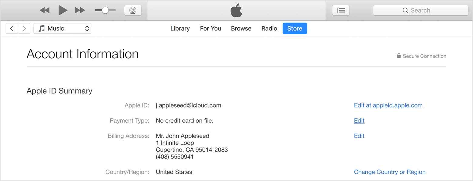 An iTunes window showing Account Information.