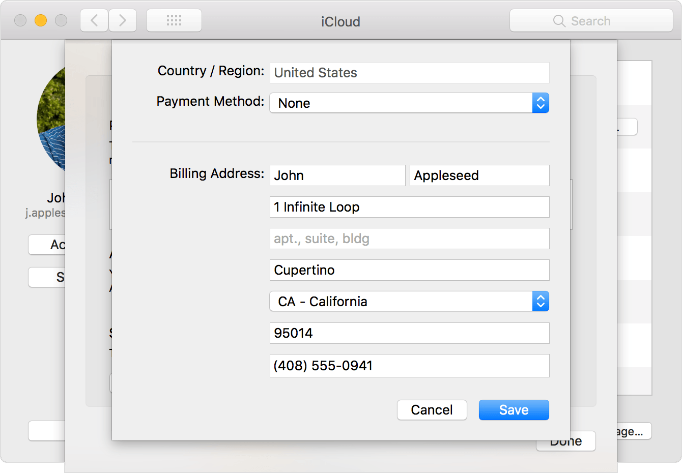 The System Preferences iCloud panel with the payment information drop-down screen open. None is selected as the payment method.