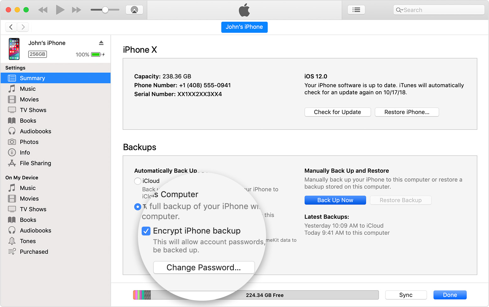 what is the password needed to restore iphone backup