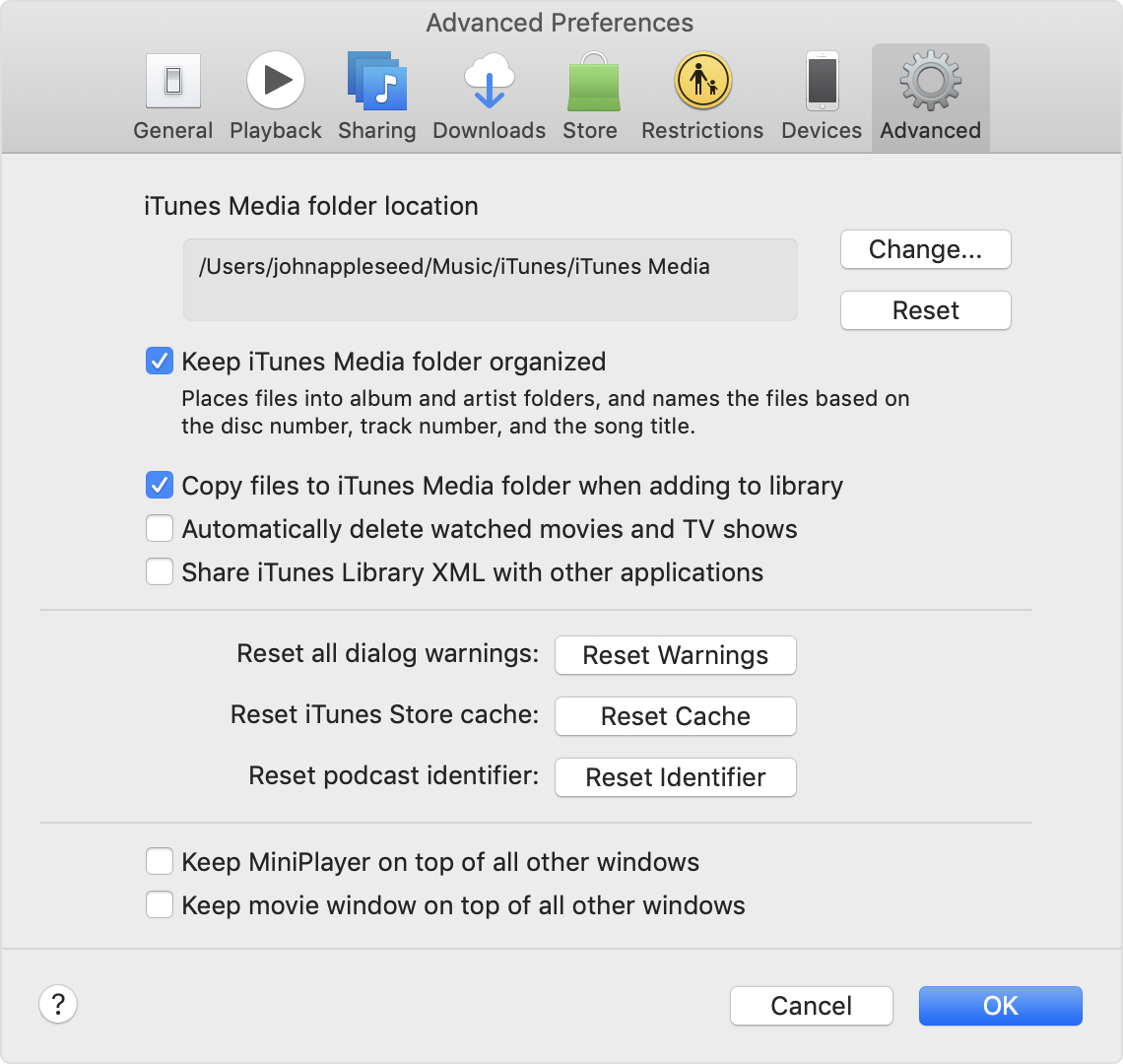 The Advanced Preferences panel in iTunes Preferences. It shows the location of the iTunes Media folder.
