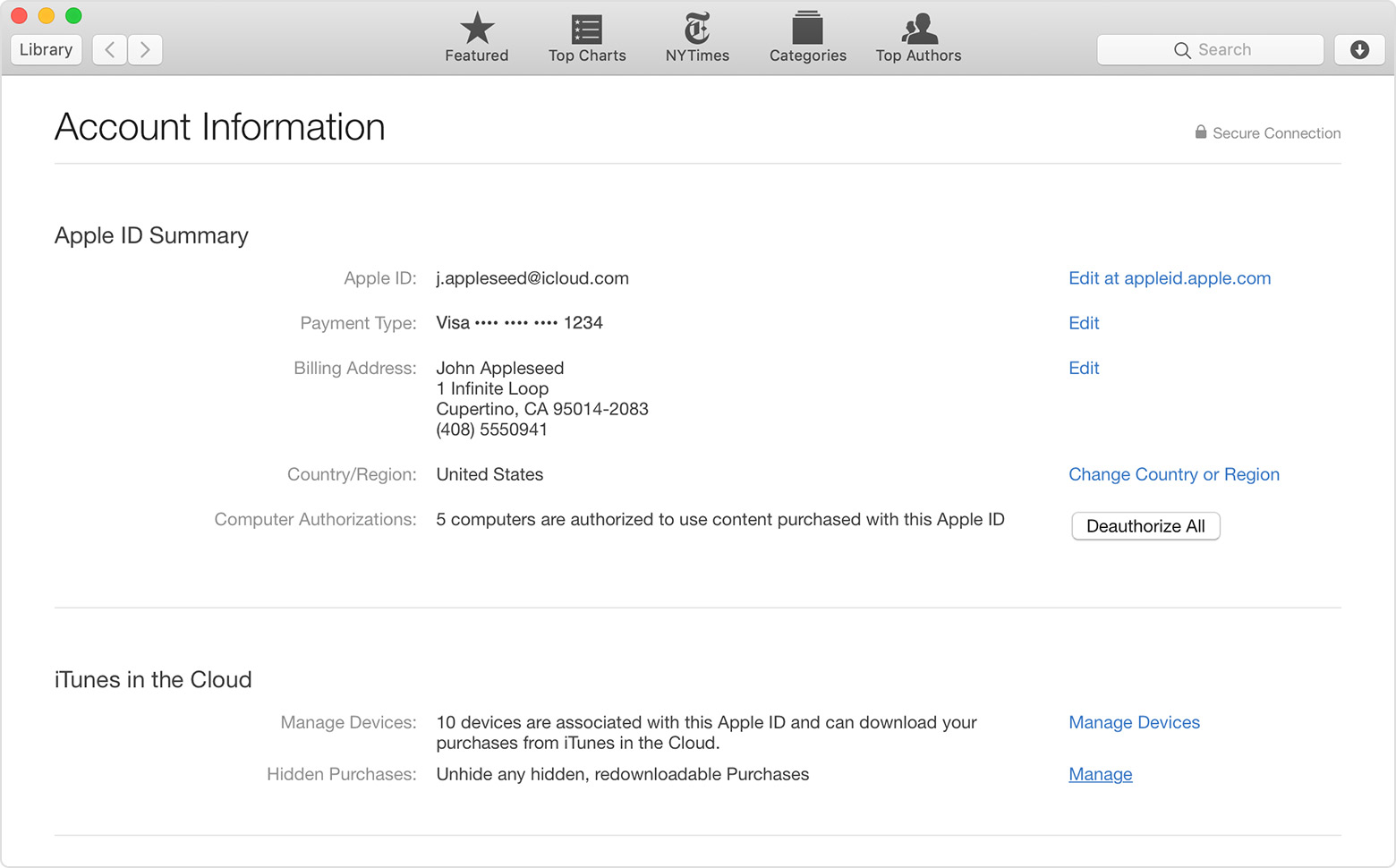 The Account Information page in Apple Books.