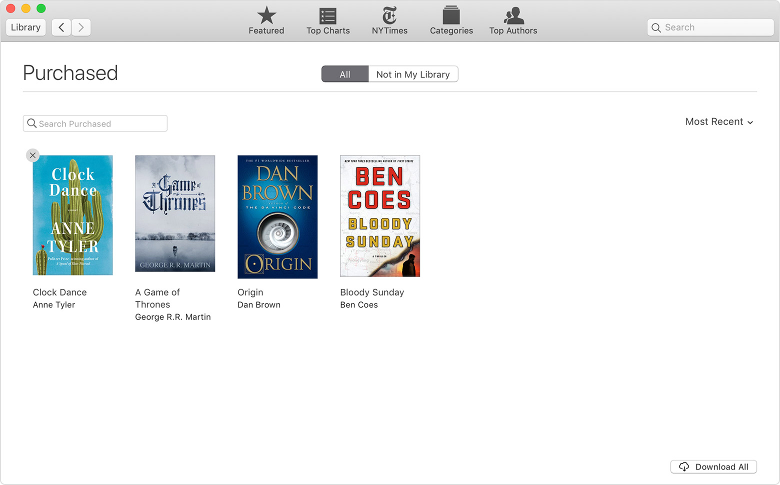 The Purchased page in Apple Books.