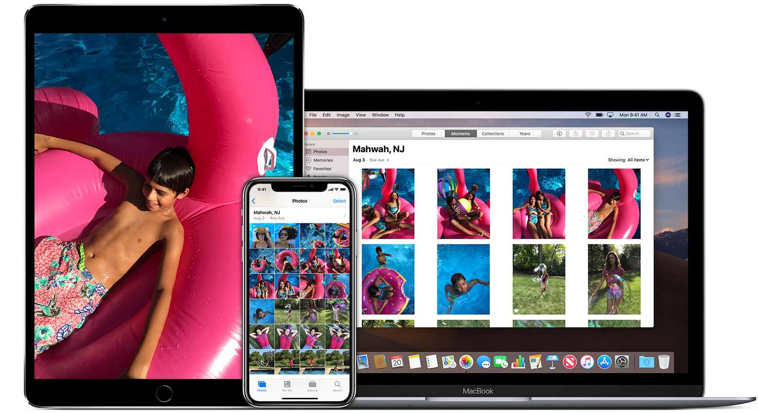App Photos sur un iPad, un iPhone et un Mac