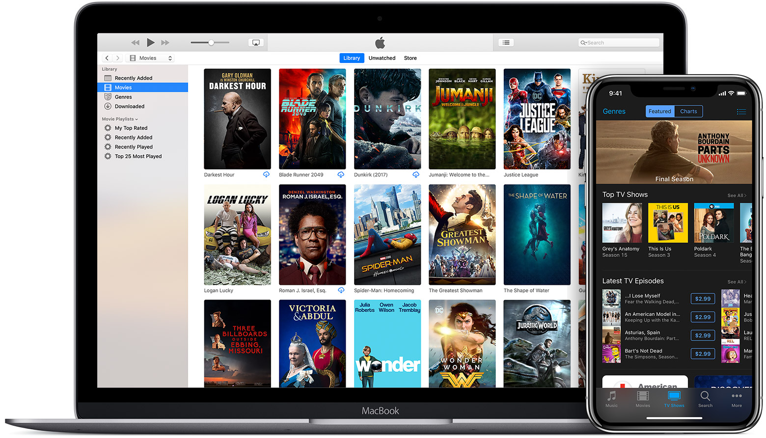 Mac showing the Movies in a Library and iPhone showing TV shows in the iTunes Store.