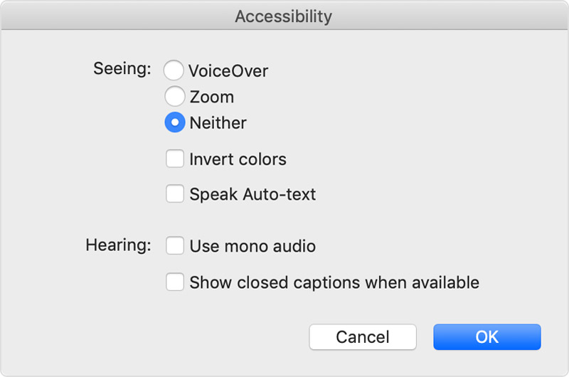Select Neither in Accessibility