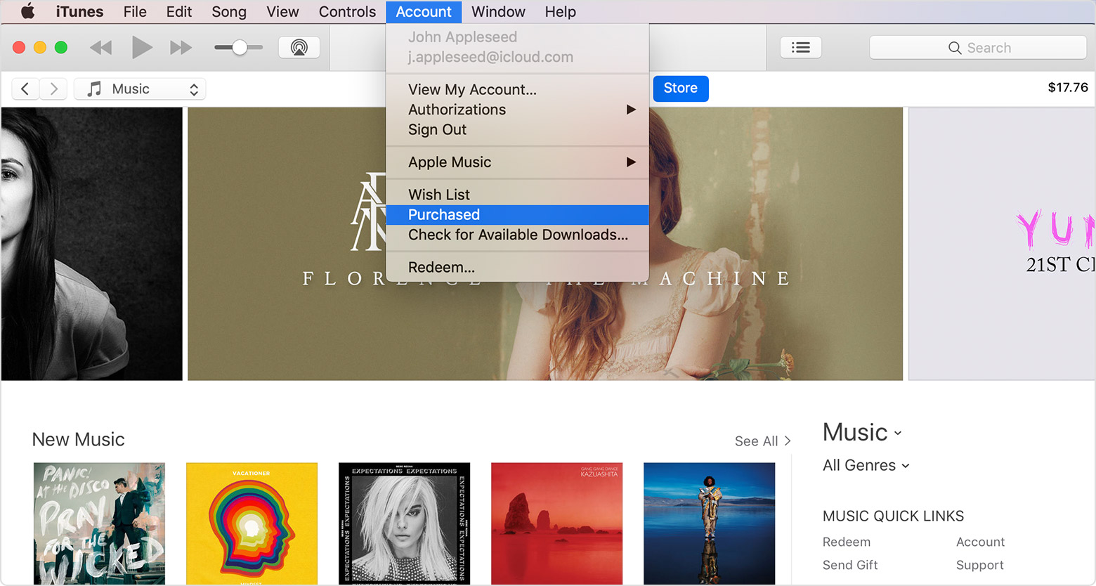 The drop-down Account menu in iTunes with Purchased highlighted. An iTunes Store window is in the background.