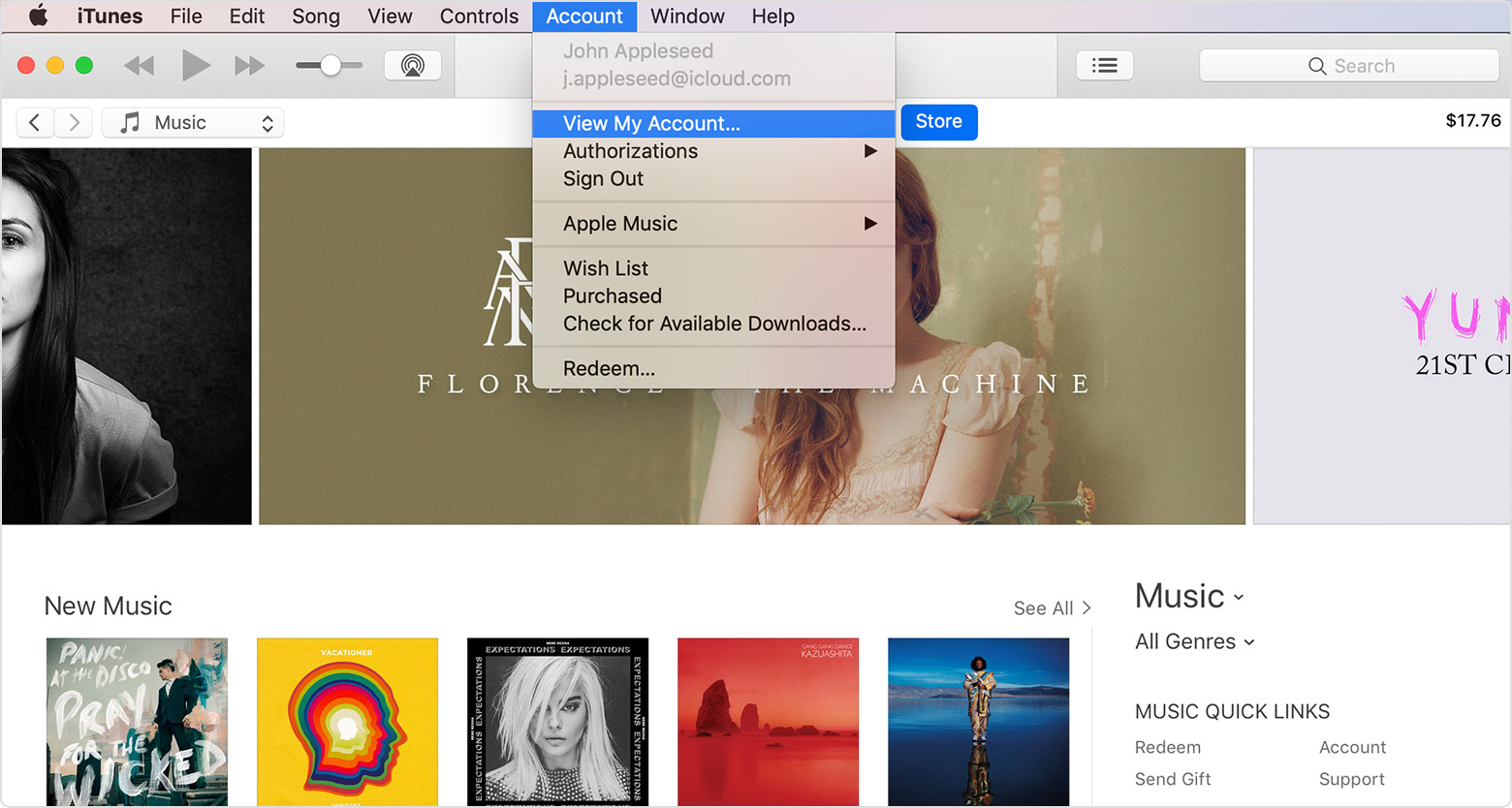 The Account menu in iTunes with View My Account selected. An iTunes Store window is open in the background.