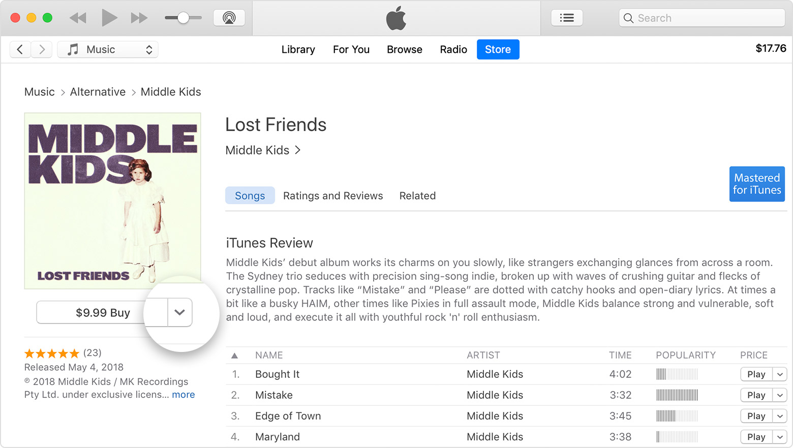 An album in the iTunes Store with an arrow next to the price of the album.