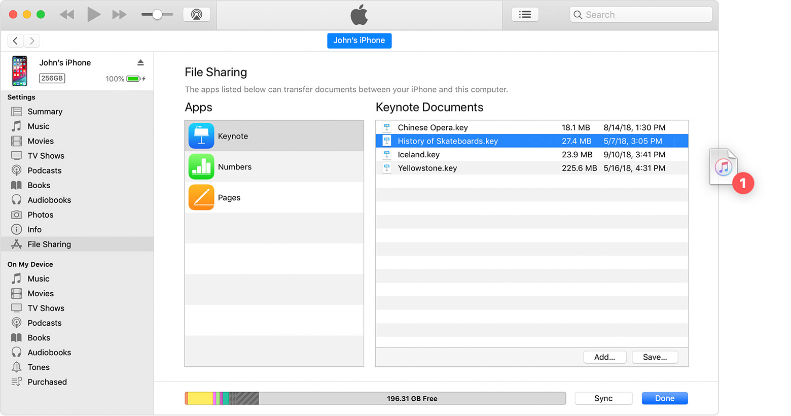 Use iTunes to share files between your computer and your