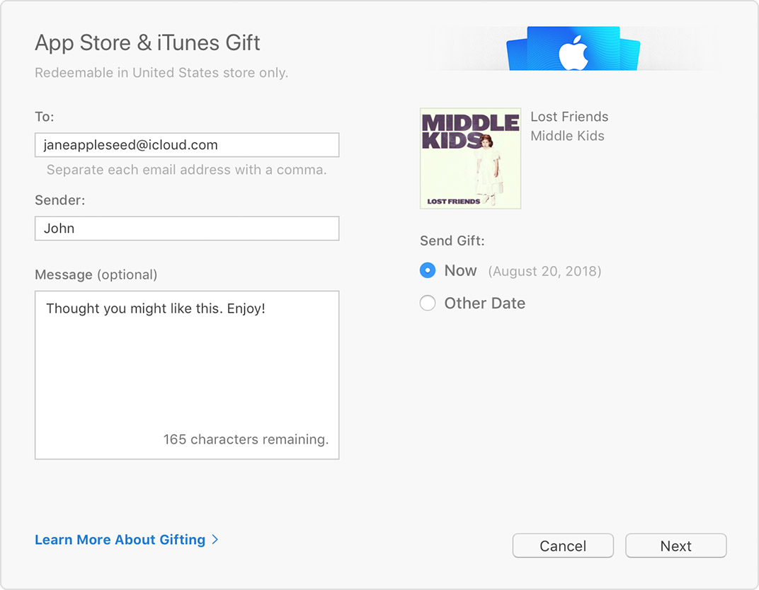 The App Store & iTunes Gift page with an album selected and a message that says Thought you might like this. Enjoy!