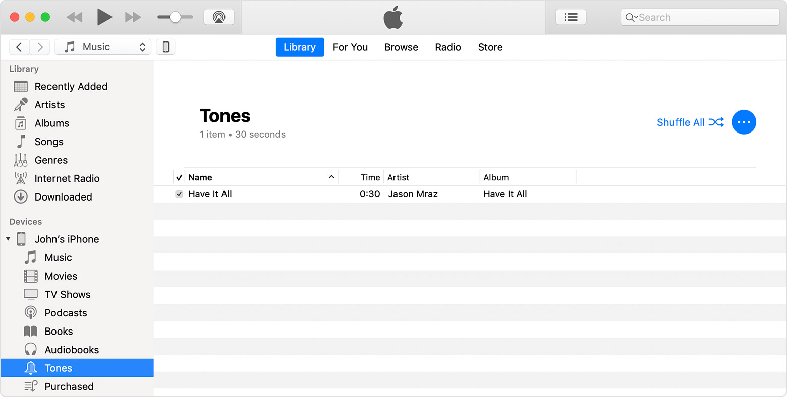 An iTunes window showing the Tones section of John's iPhone.