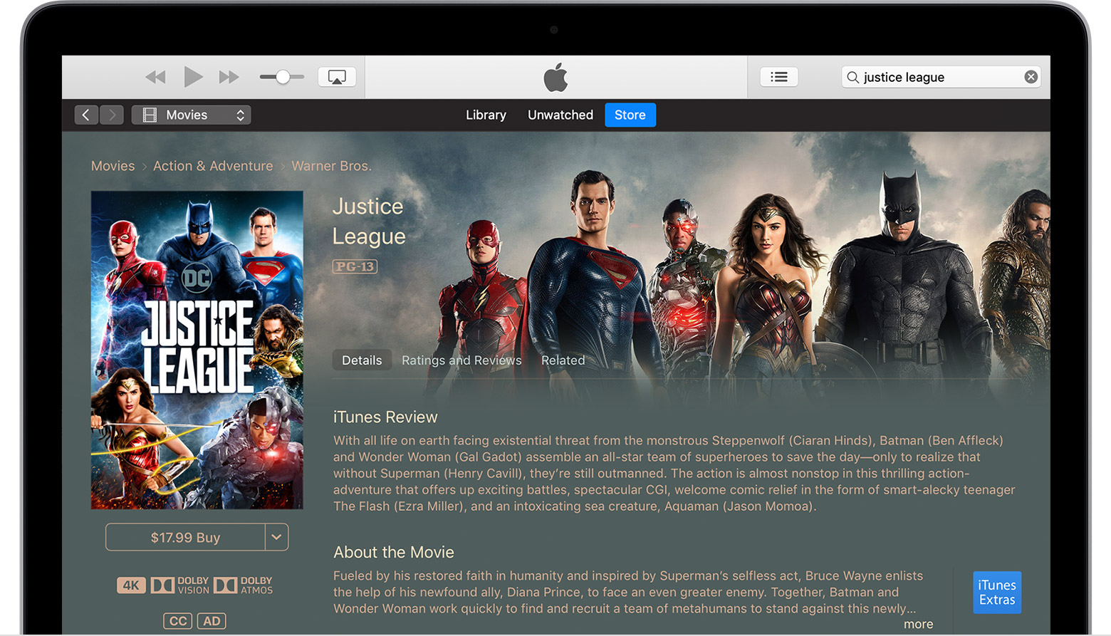 Mac affichant la page du film Justice League
