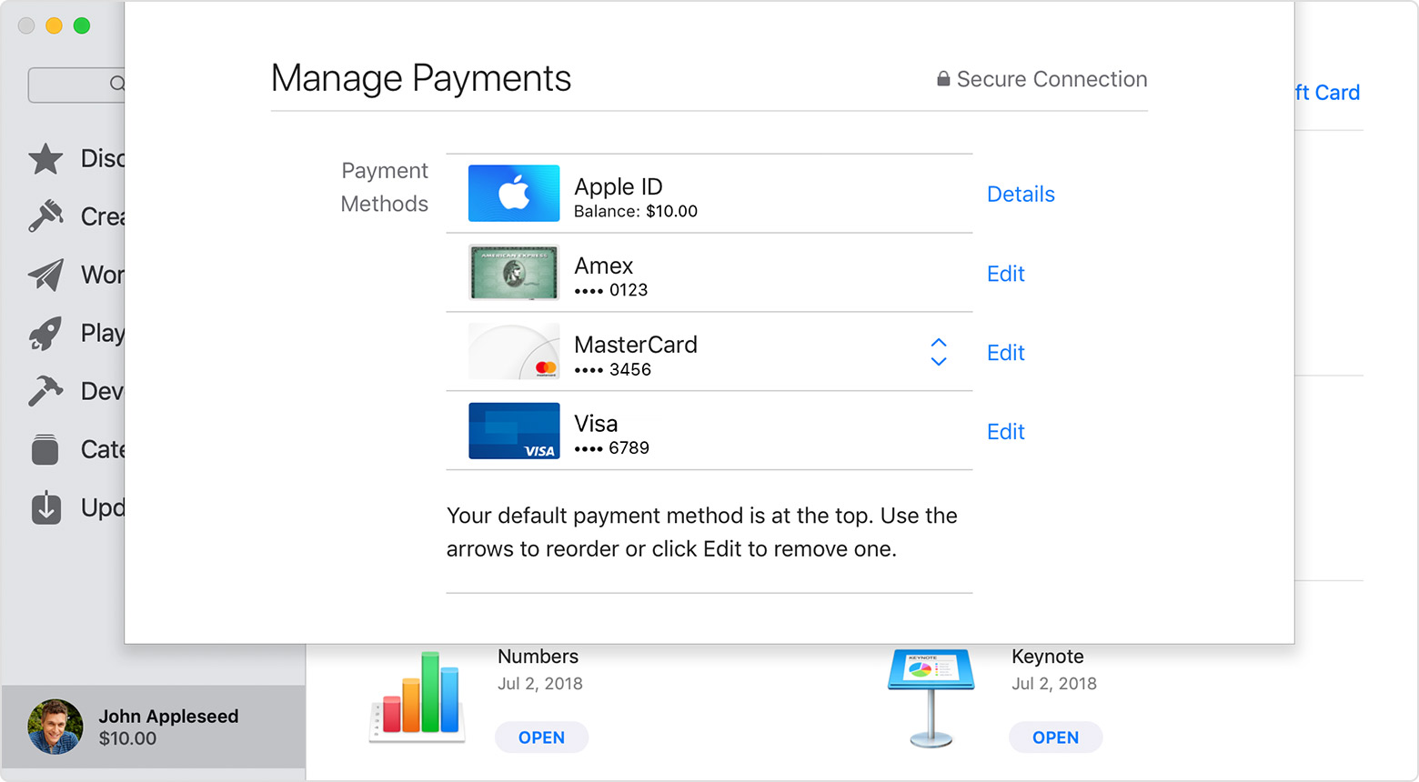 Manage Payments page in App Store showing Apple ID and some credit cards.