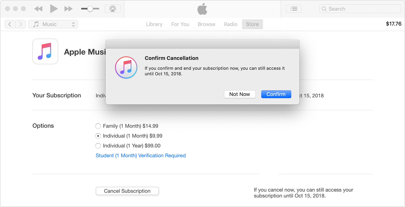 An iTunes window showing an Apple Music subscription. A message is in the foreground asking to confirm cancellation of the subscription.