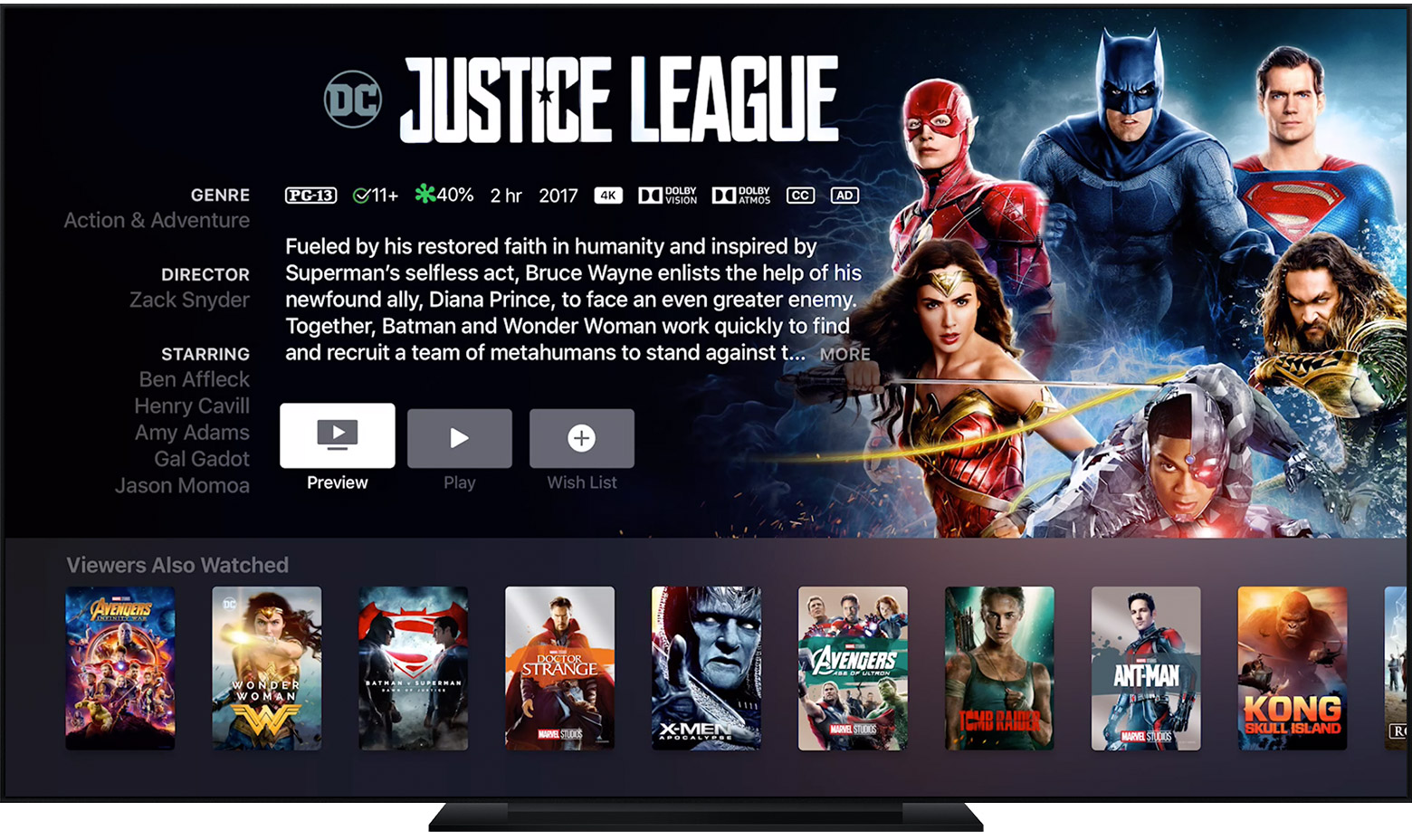 Apple TV affichant la page du film Justice League
