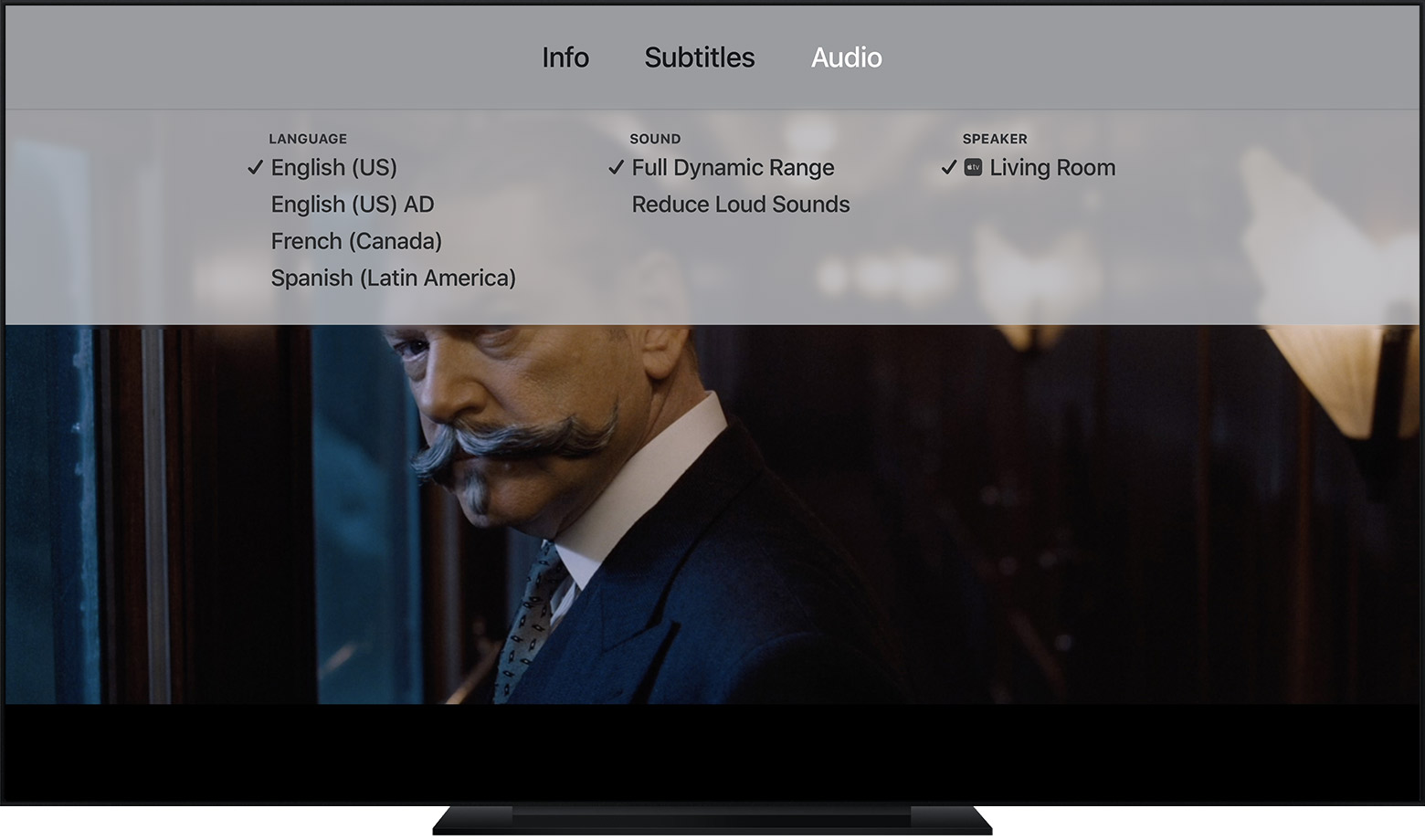 A TV showing the movie Murder on the Orient Express paused. The Apple TV Audio and Subtitles menu visible in the upper part of the screen.