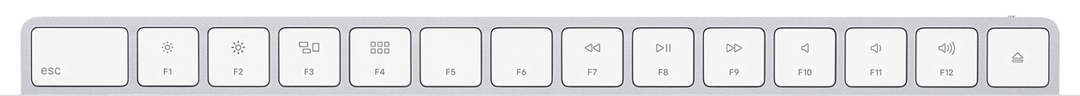 The top row of keys on an Apple Magic Keyboard, showing the function keys.