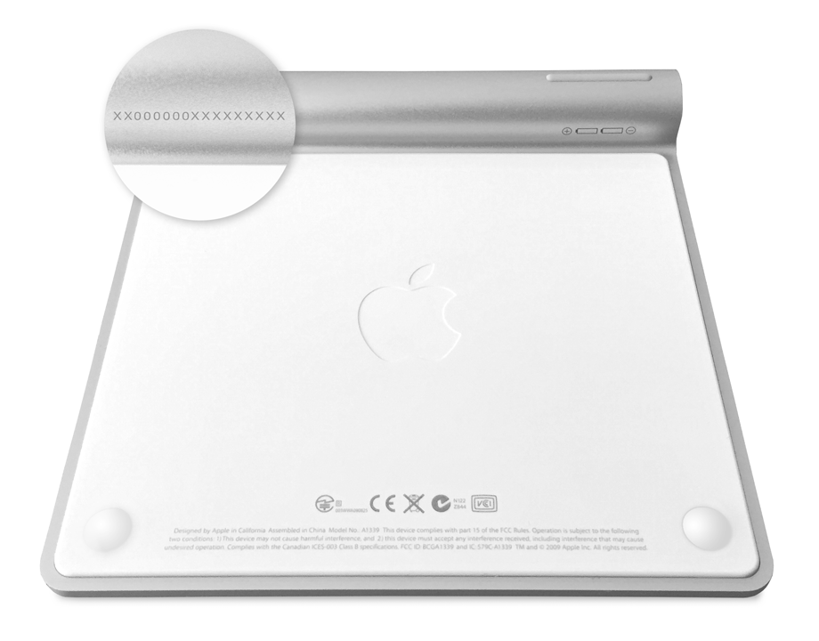 Sériové číslo trackpadu Magic Trackpad