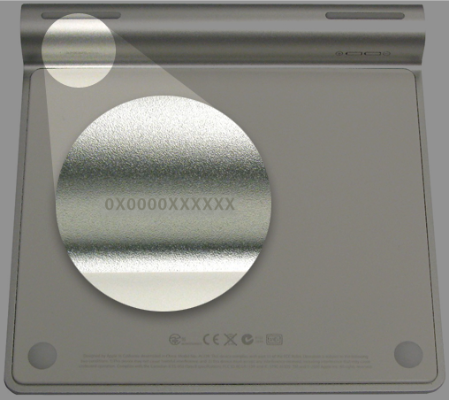 Location of the serial number on Magic Trackpad