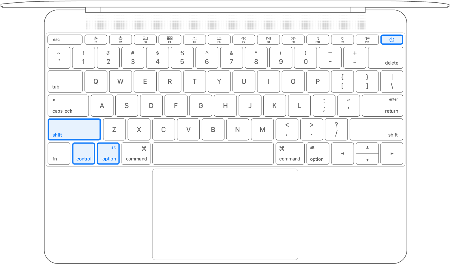 全部 4 个按键已被按下的笔记本电脑键盘