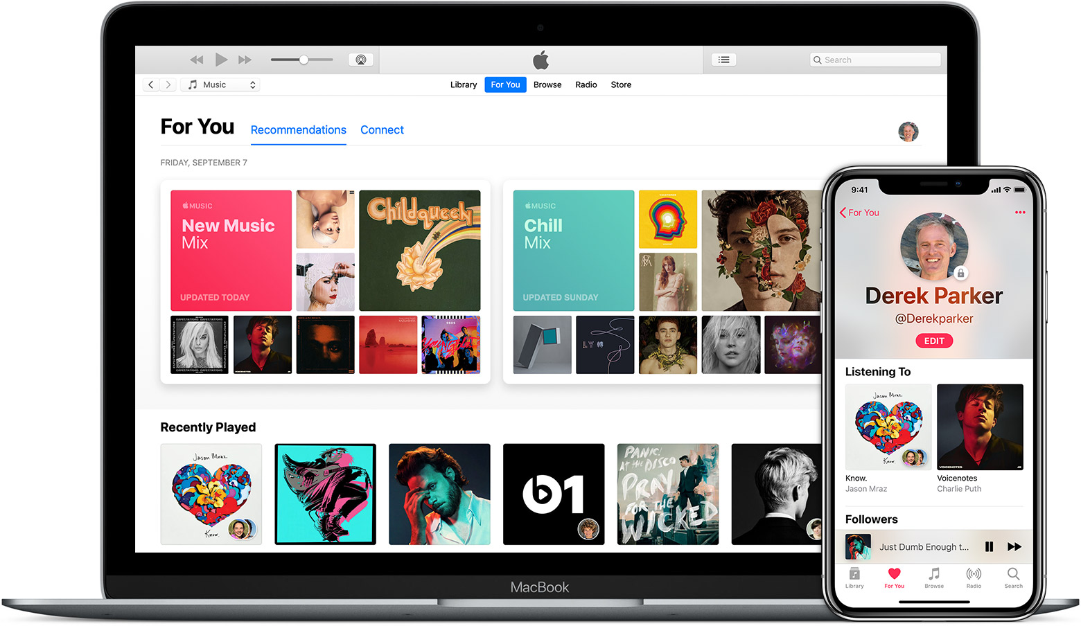 Mac showing For You music recommendations, and iPhone showing a family member's Listening To list