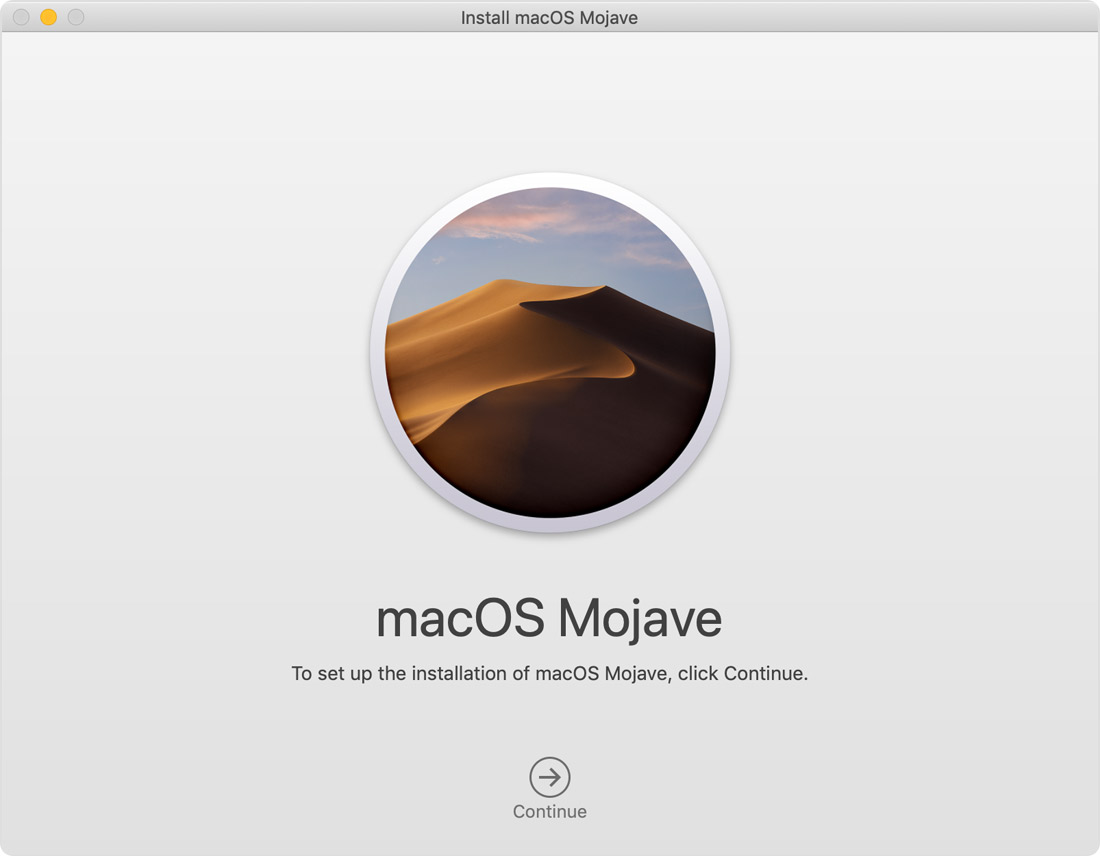 Installationsfenster für macOS Mojave