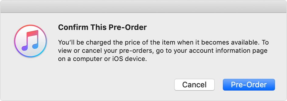 A message that asks you to confirm this pre-order.