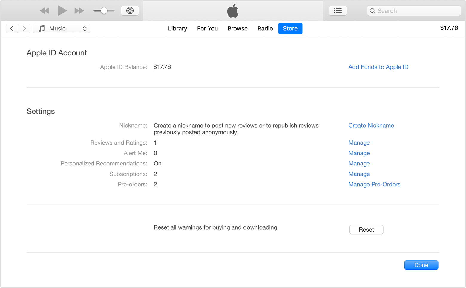 The Account Information page in iTunes.