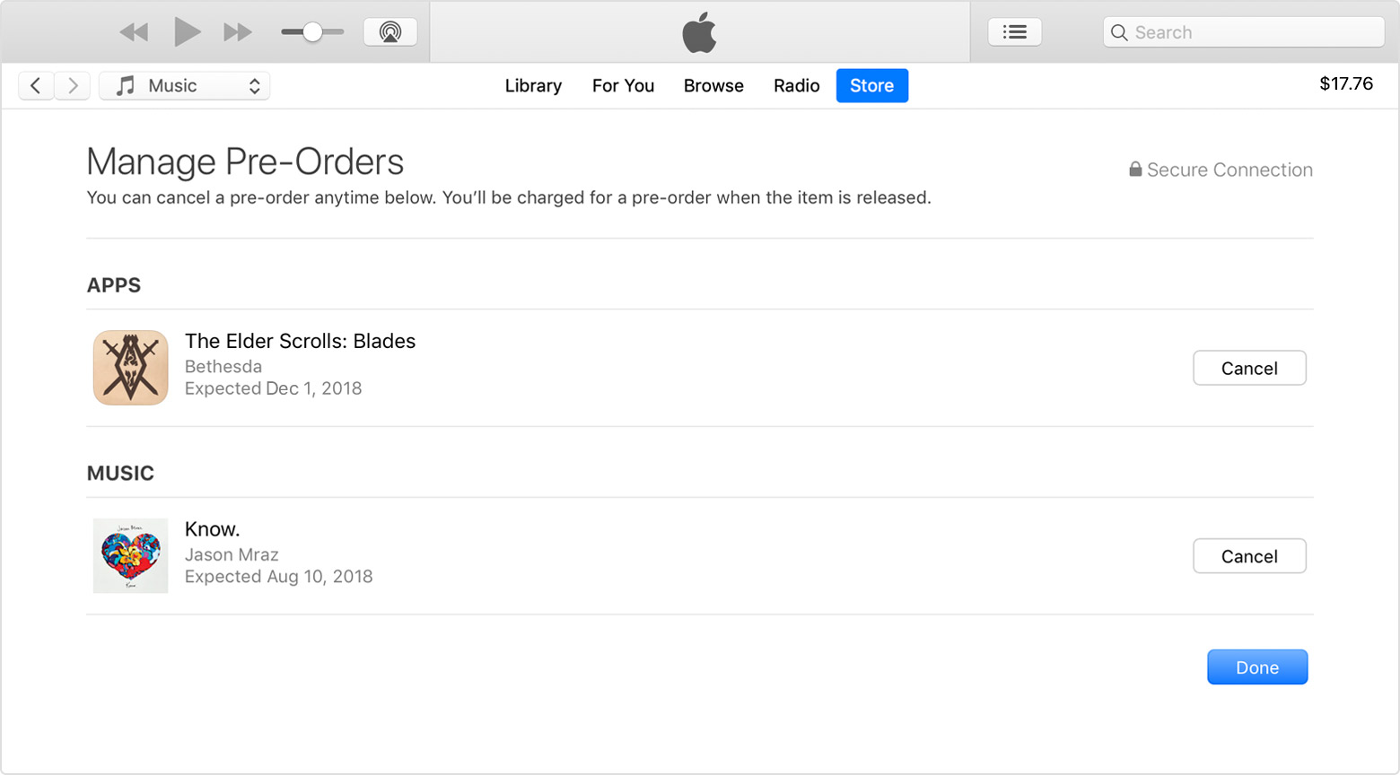 The Manage Pre-Orders page in iTunes.