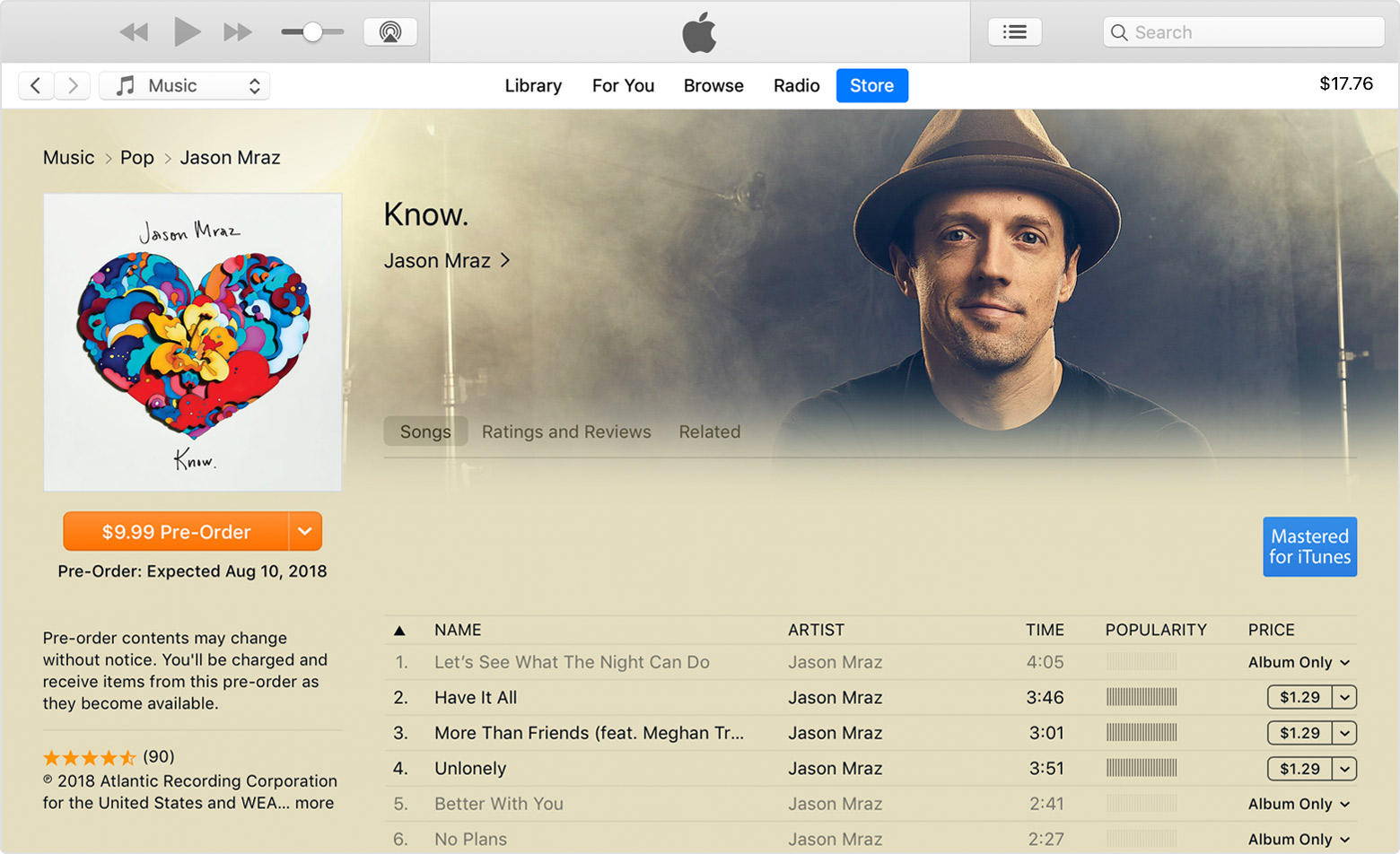 iTunes Store showing the Pre-order button on an album's page.