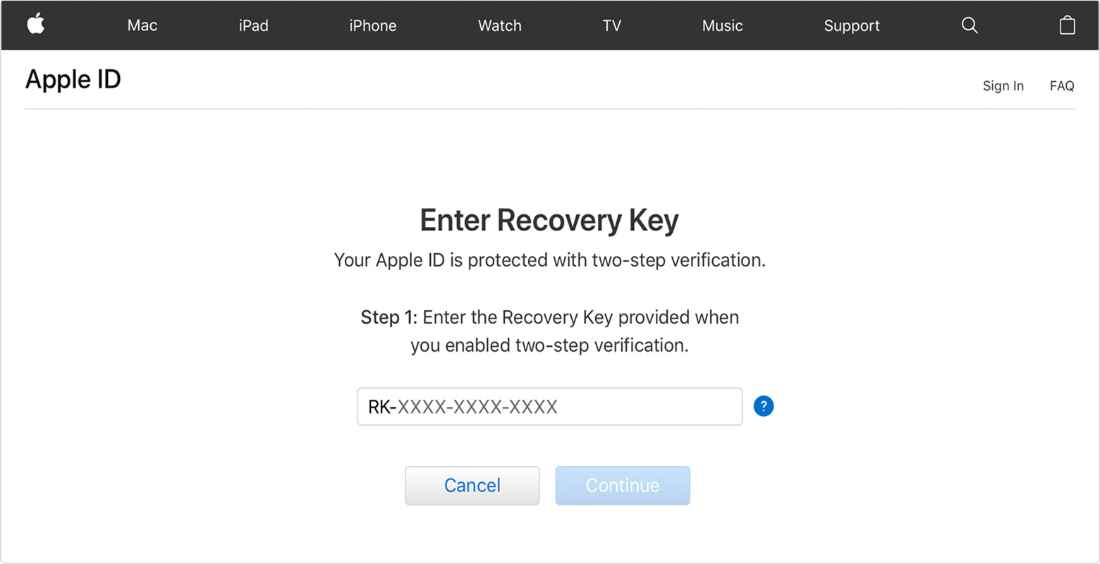 Apple ID screen showing Enter Recovery Key