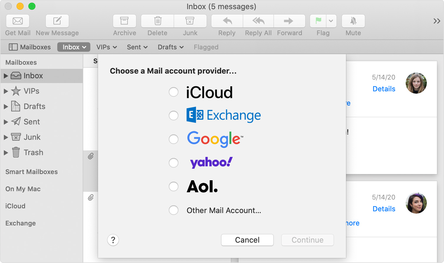 Add An Email Account To Mail On Your Mac Apple Support