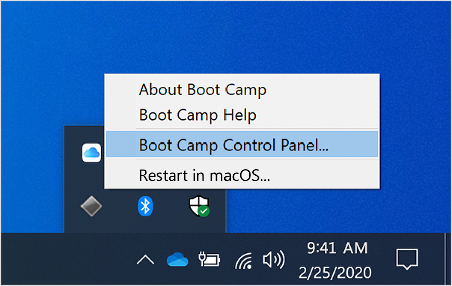 Boot Camp menu with Boot Camp Control panel selected