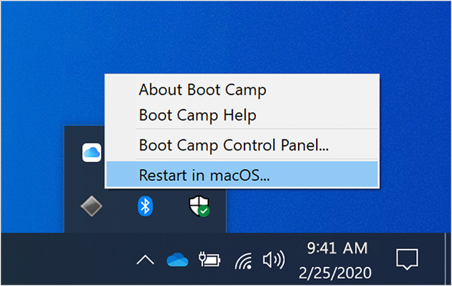 Boot Camp menu in Windows 10
