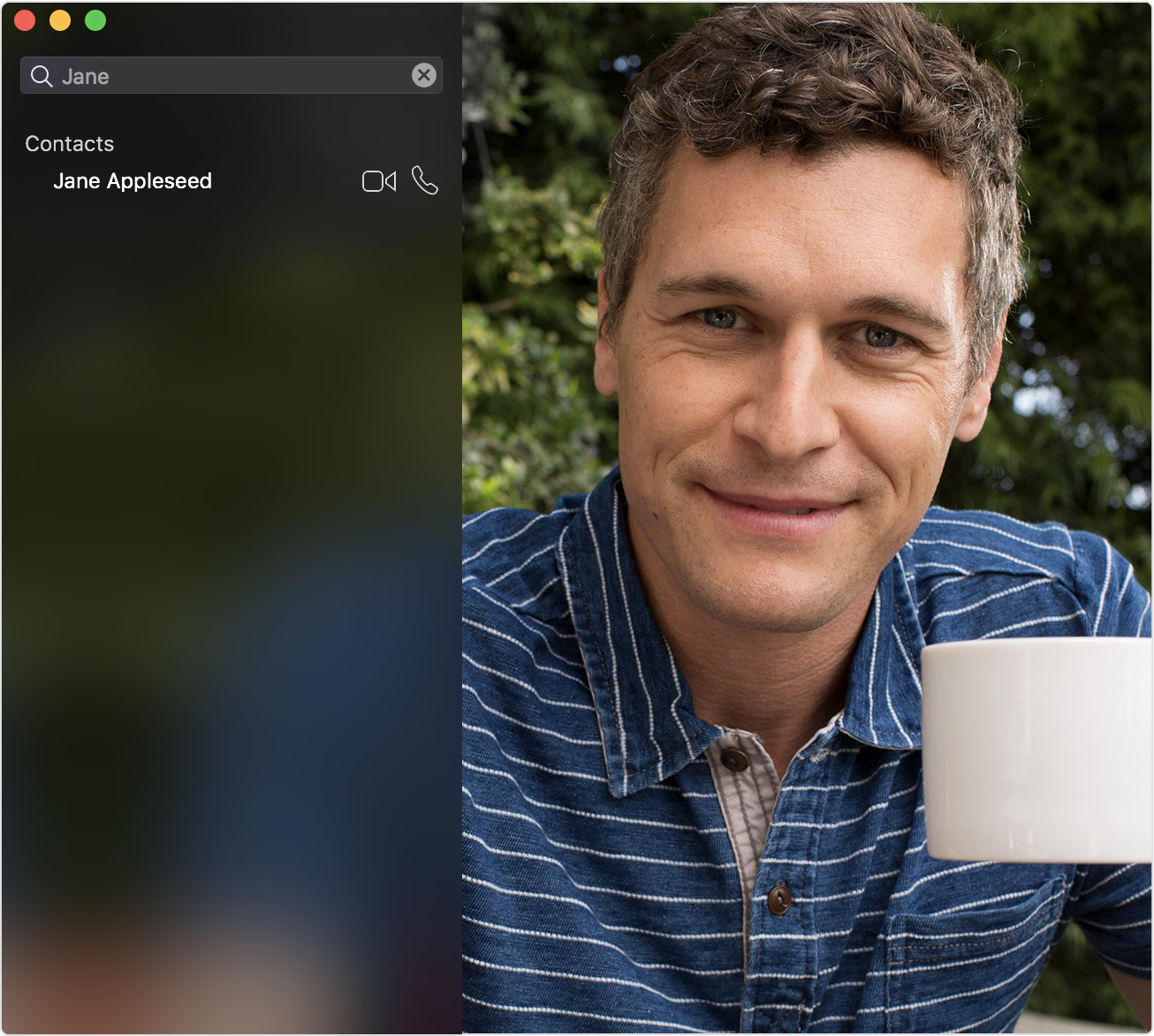 Contacts search in FaceTime app
