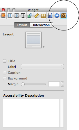 Accessibility Description field in the Widget inspector
