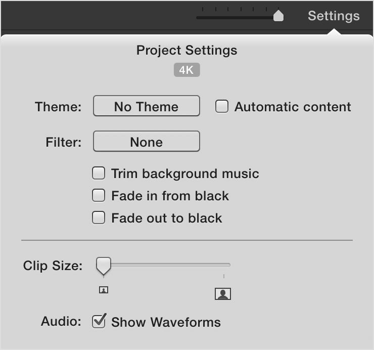 iMovie project settings window