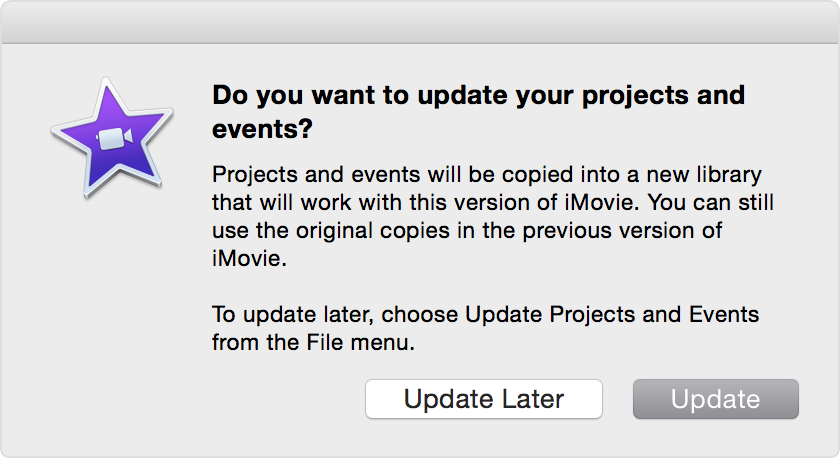update projects and events from previous versions of imovie in