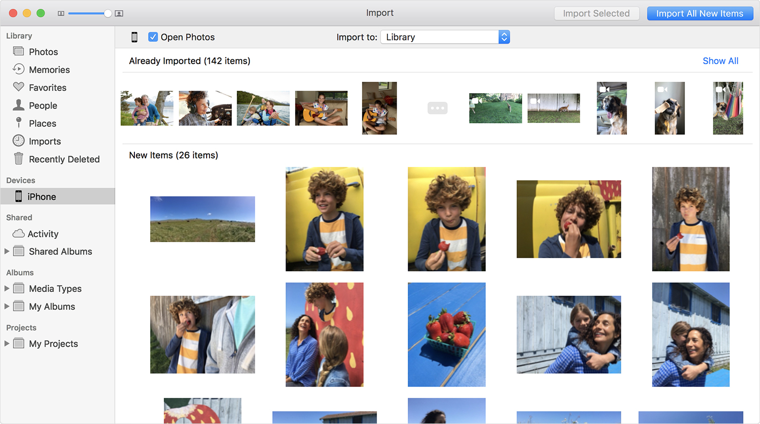 macos high sierra photos import from iphone