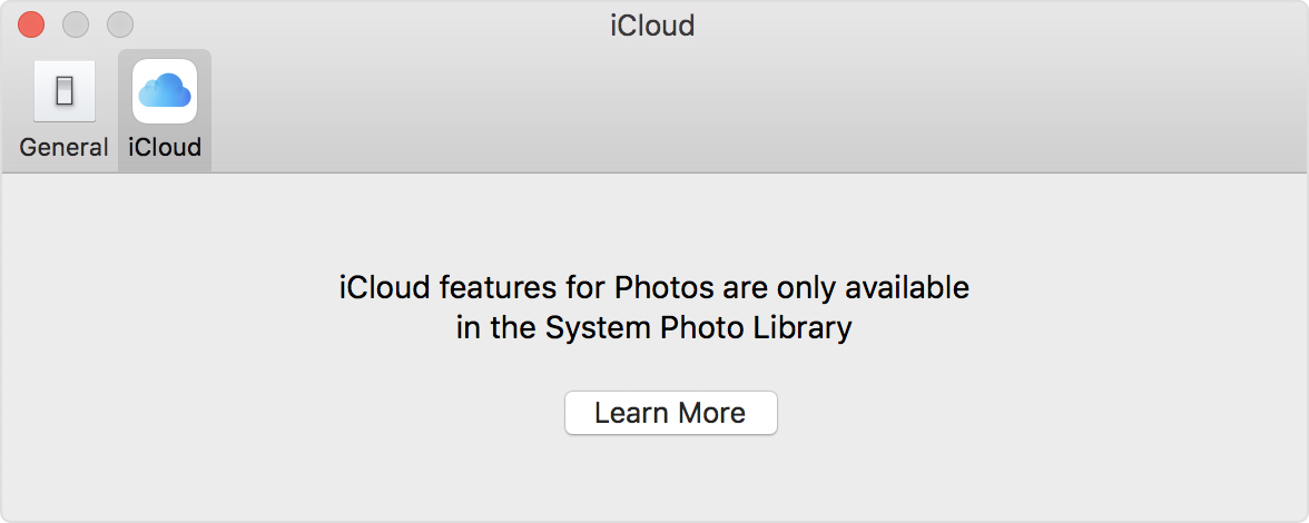 Screenshot showing the iCloud tab and a Learn More button.
