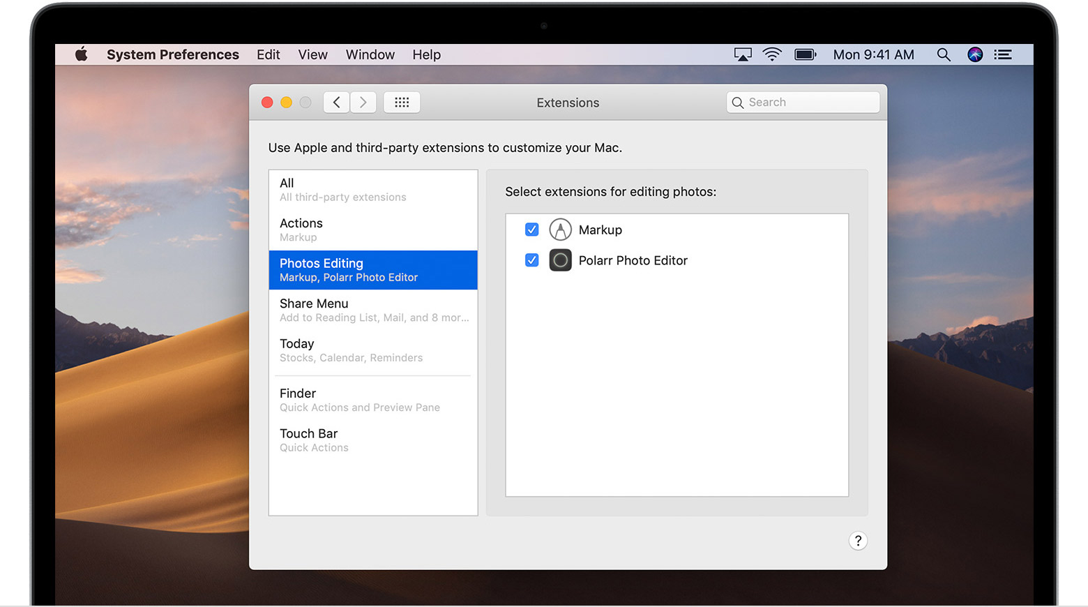 Mac display showing available third-party extensions