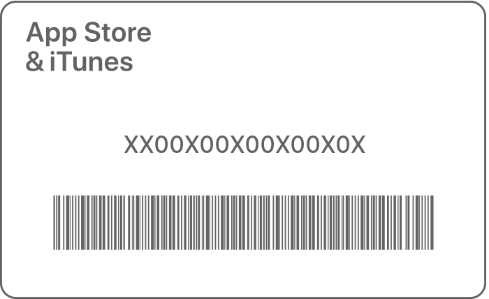 An example of an iTunes gift card with a 16 digit code.