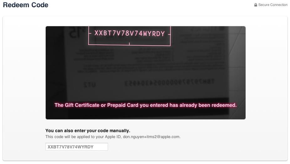 Code has already been redeemed