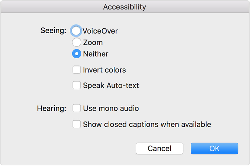 itunes preferences for turning off zoom